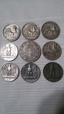 Kingdom of Italy, 1897-1930 - Lot of 9 coins (of which 8 in silver)