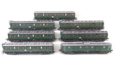 Fleischmann H0 - 5084/5085/5086/5087 - 7 passenger coaches and baggage carriage of the DRG