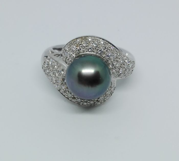 Ring - Wit goud - Tahiti Pearl van 10,33 mm - Diamant