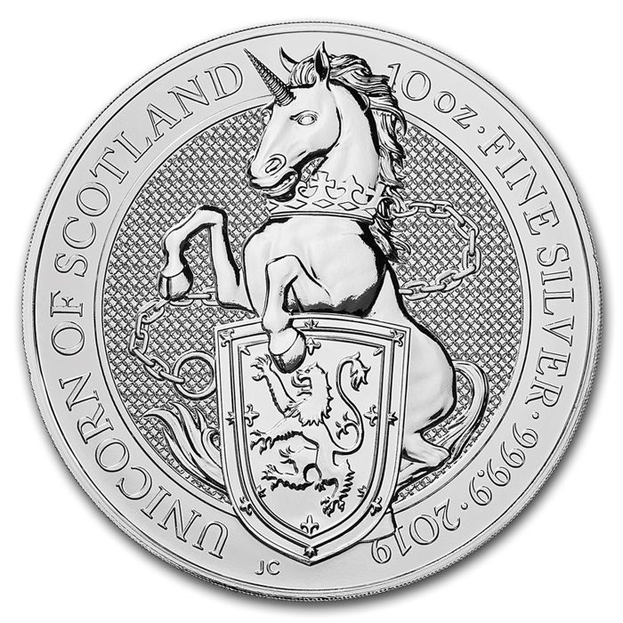 Royaume-Uni - 10 Pounds 2019 Queens Beast - The Unicorn - 10 oz 999 - Argent