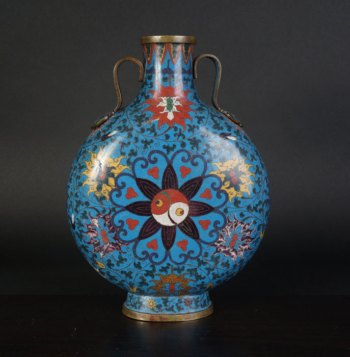 Very exclusive fine cloisonné moon flask vase - China - late 19th century