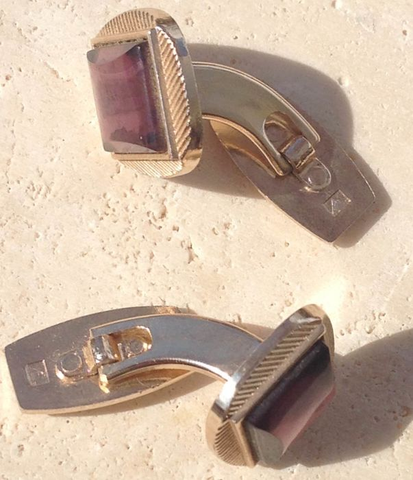 Antique cufflinks in silver gilt and natural amethyst 1950