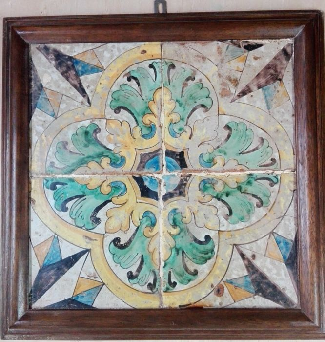 """4 antique beautiful """"Riggiole"""" tiles 20x20 - Sicily - 1700s - hand-painted and framed"""