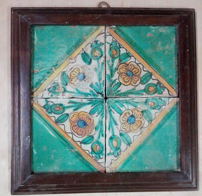 """4 antique beautiful """"Riggiole"""" tiles 15x15 - Sicily - 1600s - hand-painted and framed"""