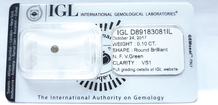 "!NO RESERVE PRICE! - IGL Diamond Cert 0.10ct - Natural Fancy Green VS1 - "" IDEAL CUT """