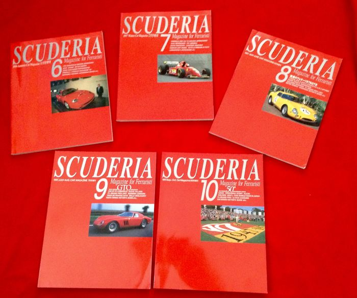 rare Ferrari Magazine #6/7/8/9/10 - Scuderia - Magazine for Ferraristi made in Japan - 1996-1997 (5 objetos)