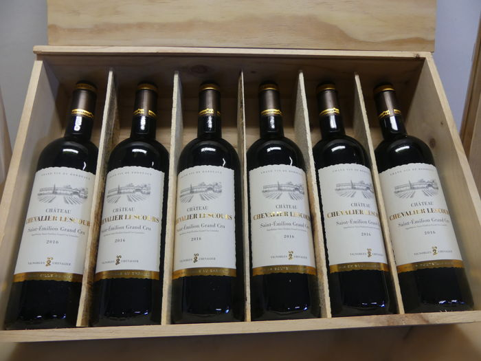2016- Chateau Chevalier Lescours St Emilion grand cru in wooden box-6 bottles
