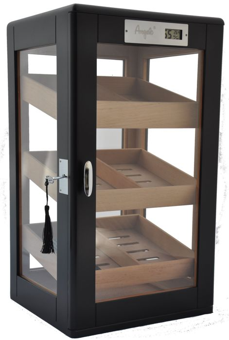 ANGELO - Humidor cabinet for 75 cigar doors and side glass 3 cedar drawers - 1