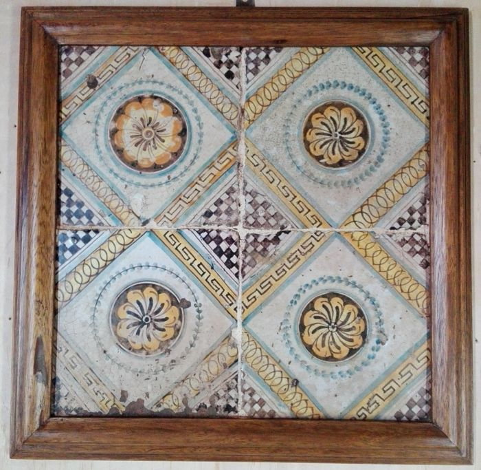 "4 antique beautiful ""Riggiole"" tiles 20x20 - Sicily - 1700s - hand-painted and framed"