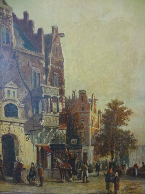H Haverkamp (20e eeuw) - Townscape with gate