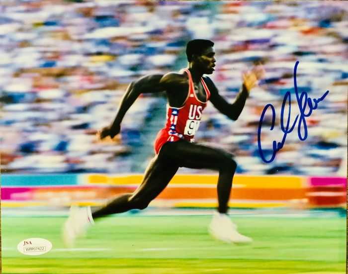 Carl Lewis [ 9 Gold Medals ] - Authentic & Original Signed Autograph in Professional Poster ( 20 x 25 cm ) - with Certificate of Authenticity JSA Wtinessed