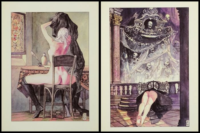 Milo Manara - 2x Lithografie - Lettres d'une religieuse Portuguaise  - Loose page - French edition 1st edition - (2000)