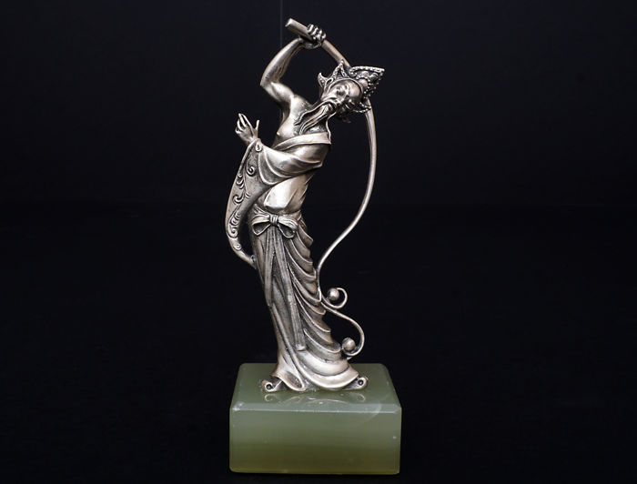 Silver Figure of Chinaman on a Marble Base - Silver - Italy - 1950-1999