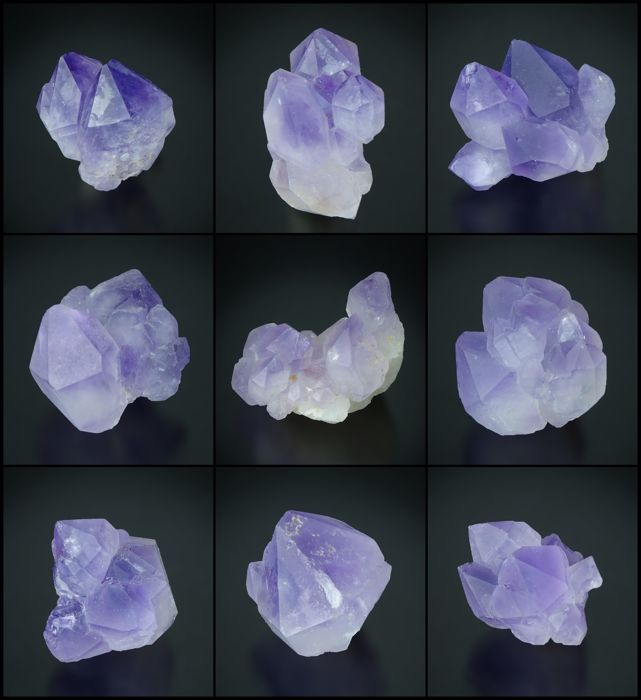 Lot with Amethyst  crystal clusters - 3,4 x 3,0 x 2,5 cm - 100 g - (9)