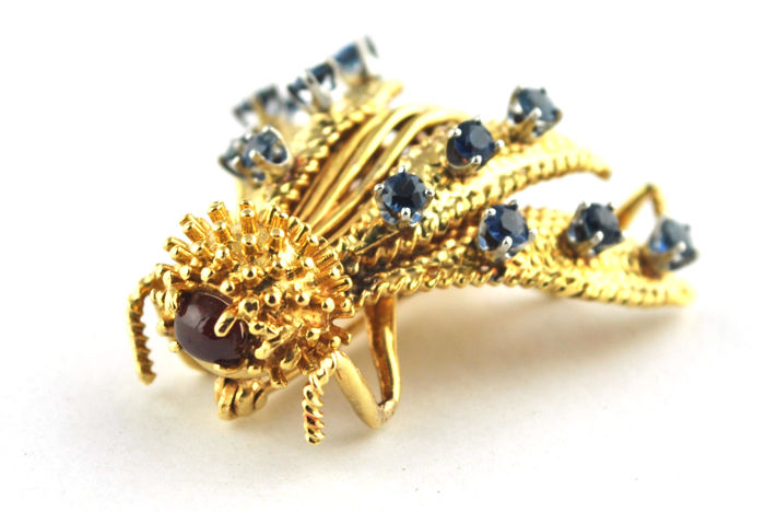 Piaget - Handmade 1960's Ruby & Sapphire Insect Brooch, Stamped & Signed Piaget 18k/750 Yellow Gold