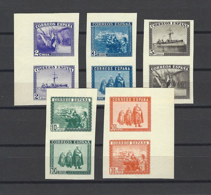 Spain 1938 - Complete SH Army and Navy series, imperforated - Edifil SH 850