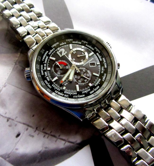Citizen - Eco Drive World Time Chronograph pilots 3 x Straps - AT0361-57E cal. H500 - Men - 2011-present
