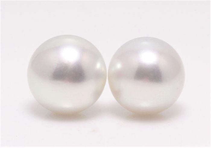 No reserve price - 18 kt. White Gold - 11x12mm Round South Sea Pearl Studs - Earrings