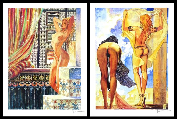 Milo Manara - 2x Lithography - Aphrodite - Loose page - First edition - (2003)