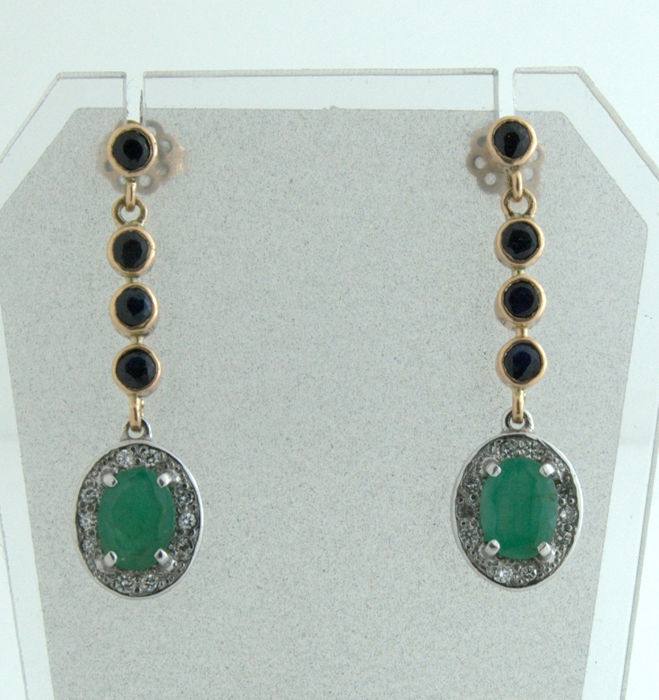 Earrings - Gold, White gold - 4.16 ct - Diamond and Diamond, Emerald, Sapphire