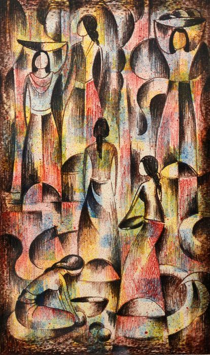 """Lithograph """"Balinese women"""" by Han Snel - Indonesia"""