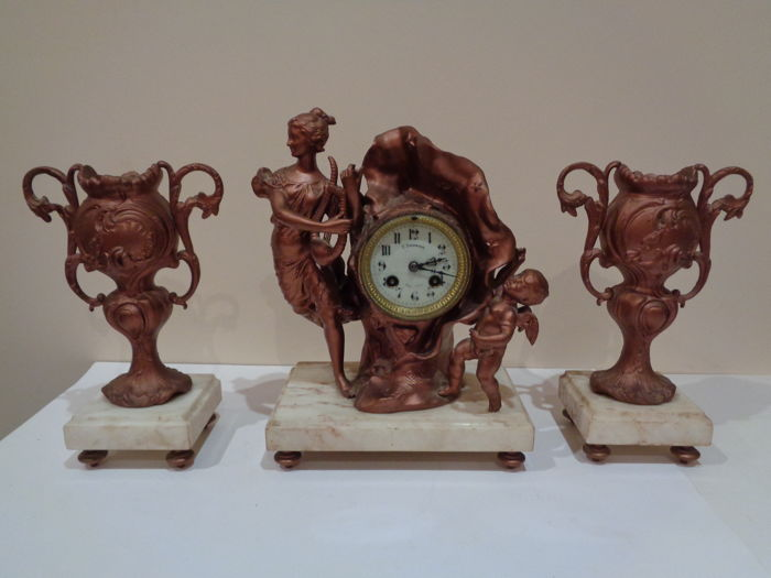 Clock - Japy Freres & Co. - Brass, Marble, Patinated bronze - 1850-1899