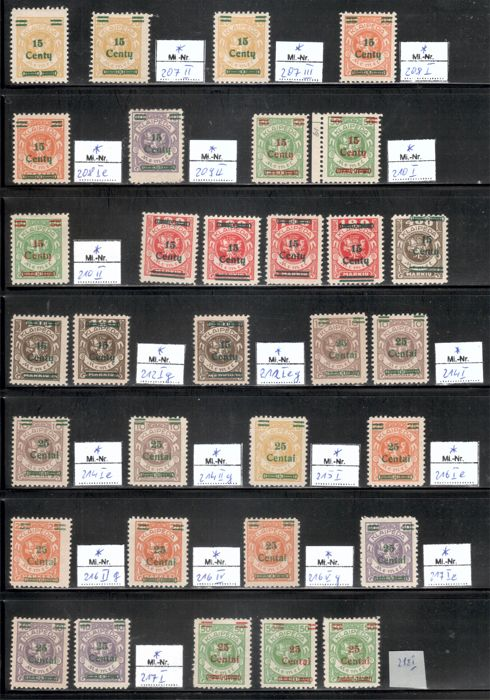 Memel 1923 - 58 pieces from overprint series with types - Michel ex 207-228