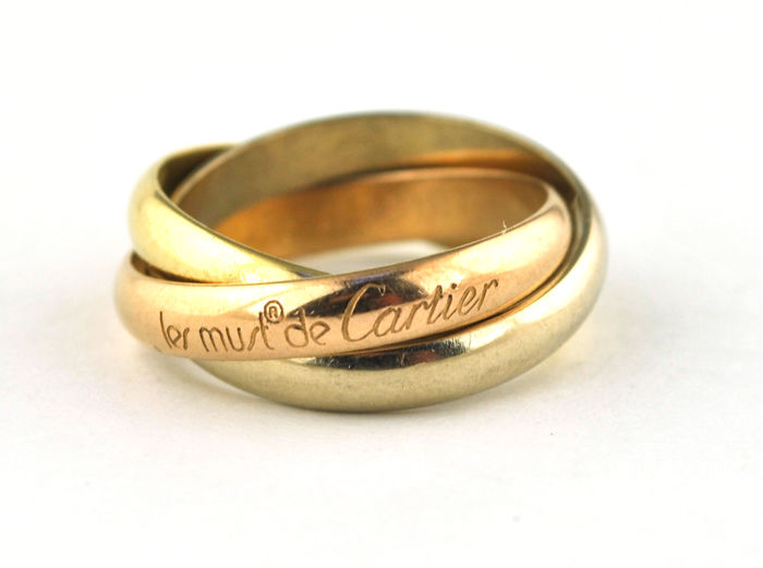 Must de Cartier Trinity Tricolor + Box - Ring - Gold, Pink gold, White gold