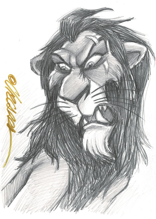 Scar - The Lion King - Original Drawing - Joan Vizcarra - First edition