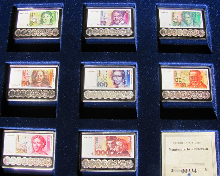 Germany - 8 banknotes - silver bars 5, 10, 20, 50, 100, 200, 500 and 1000 German Mark from the year 2002 in the form of silver bars 999 (8 x 31 grams) - with certificate, edition 2000 sets