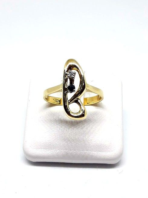 Ring in 18 kt gold with diamond and sapphire - size 17.5 mm / O-UK / 7 USA
