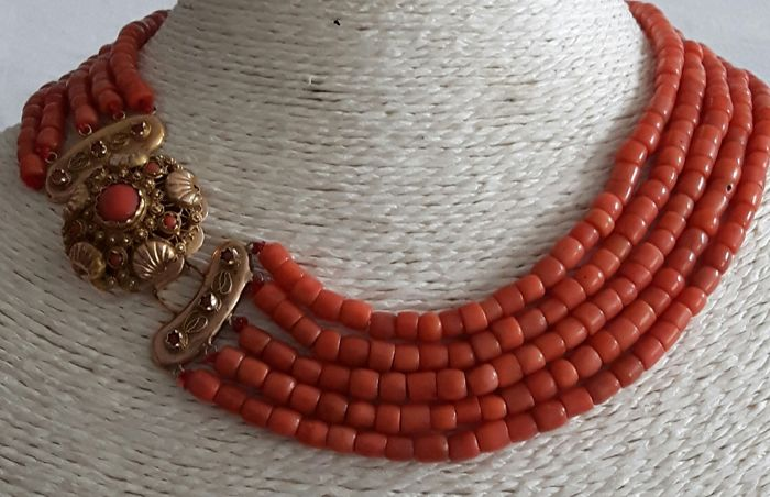 Necklace - Blood coral, Gold - Natural (untreated) - Blood coral