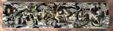 Very large woodcarving with depiction of many trades - China - 19th century (Qing dynasty)