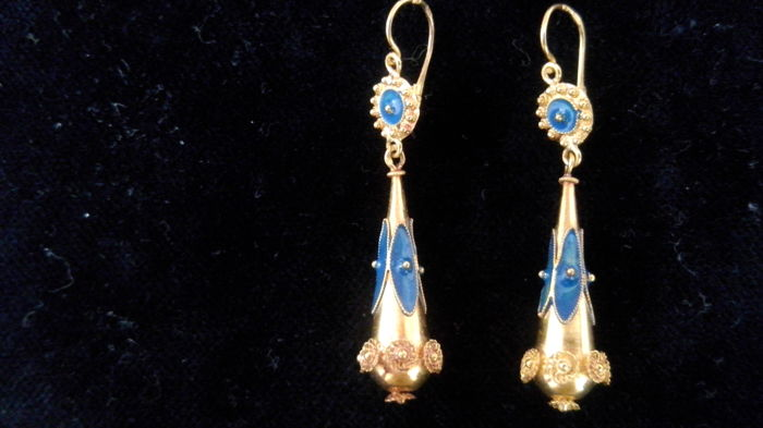 Spindle earrings in 24kt Portuguese gold - Catawiki