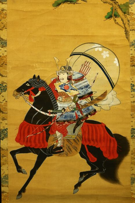 "Hand painted hanging scroll Tosa school style painting  ""Samurai on horse"" - Japan - Late 19th century or Early 20th century (Meiji period)"