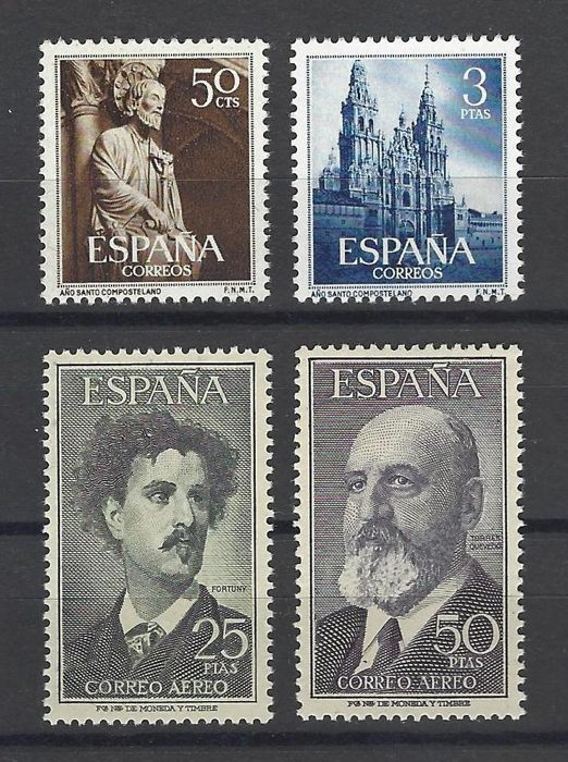 Spain 1954/1955 - Full sets Holy Year + Fortuny and T. Quevedo - Edifil 1130/31 + 1164/65