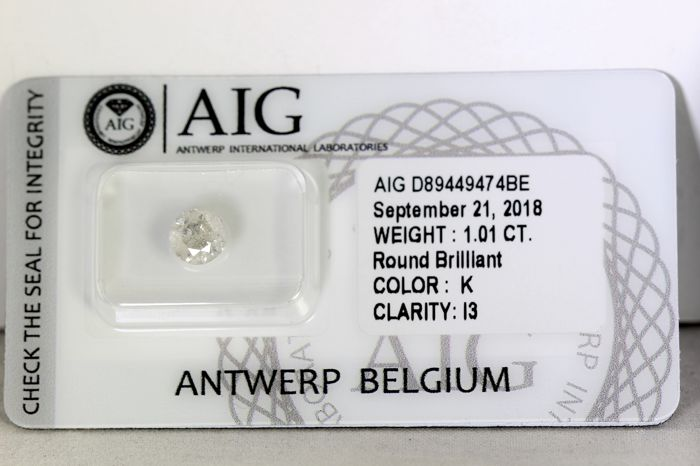 AIG Antwerp Diamond - 1.01 ct - Colour: K, Clarity: I3 - Excellent Cut