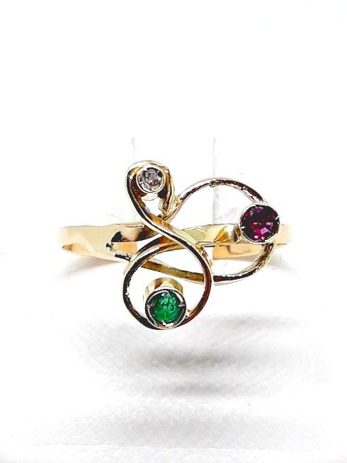 Ring in 18 kt Gold with Diamond, Emerald and Ruby - size 18 mm / P-UK / 7.5 USA