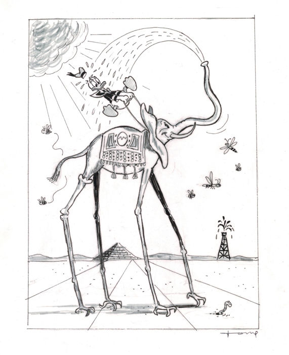 Donald Duck inspired by Dali - Original Drawing - Tony Fernandez - First edition