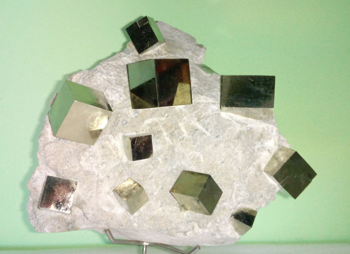 Magnificent example of cubic pyrite on matrix Crystals on matrix - 16x13x6 - 840 g.