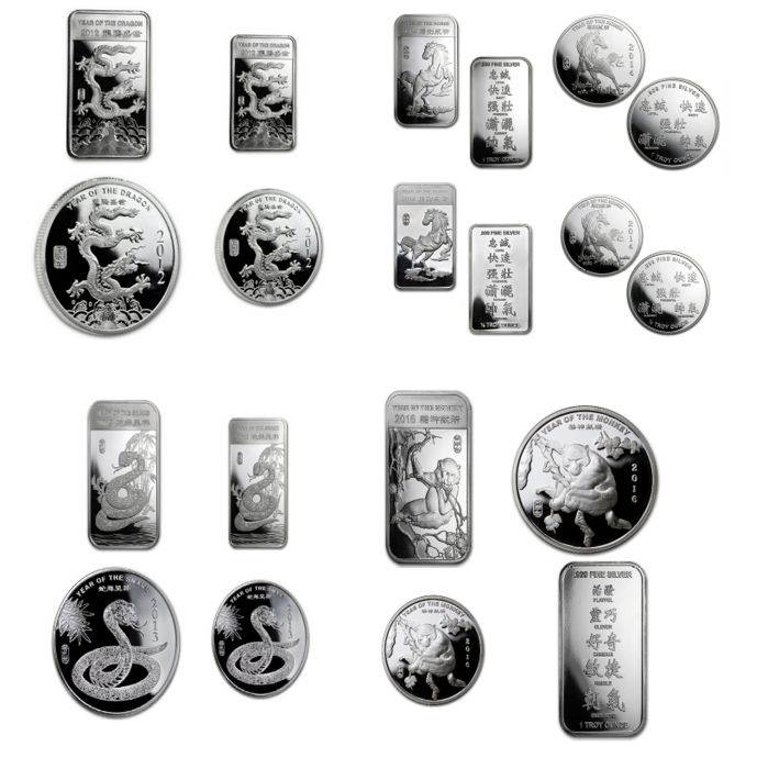 United States - SMI - Lunar lot year of the dragon + horse + snake + monkey 16 coins + bars - 373.2 g 999 silver