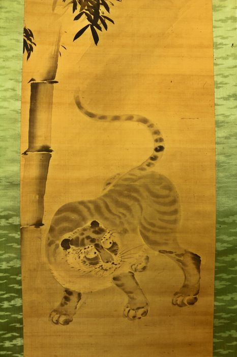Hand Painted Unsigned Kano School Hanging Scroll Tiger And