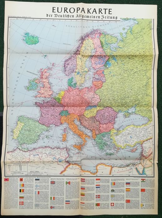 Huge Third Reich Germany World War II Map 1939 with flags, country