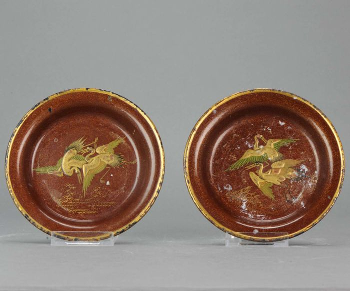 Pair of lovely lacquer footed altar Dishes - Japan - Late 19th century