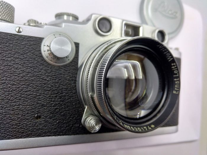 Leitz Leica IIIc no. 364,338 with Summitar f=5 cm 1:2 no. 530,174