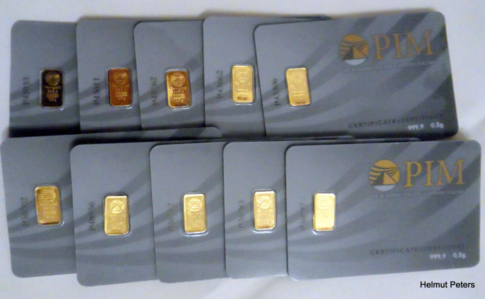 NADIR PIM - 10 x 0,5 gr. Gold bar 999.9  24 Karat LBMA certified - Minted/Sealed in blister with serial number