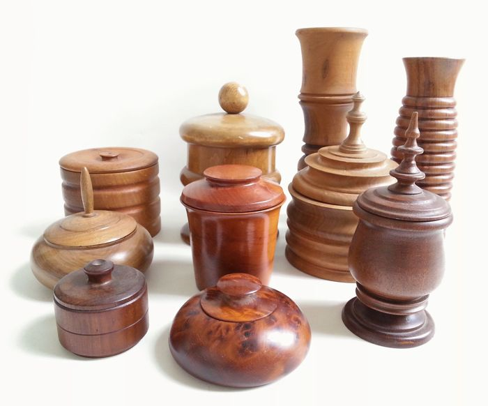 8 Pots And 2 Vases Wood Catawiki