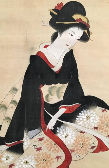 """""""Bijin with beautiful dress"""" (美人) - Elegant scroll painting on cloth, signed and stamped - Japan - ca. 1920"""