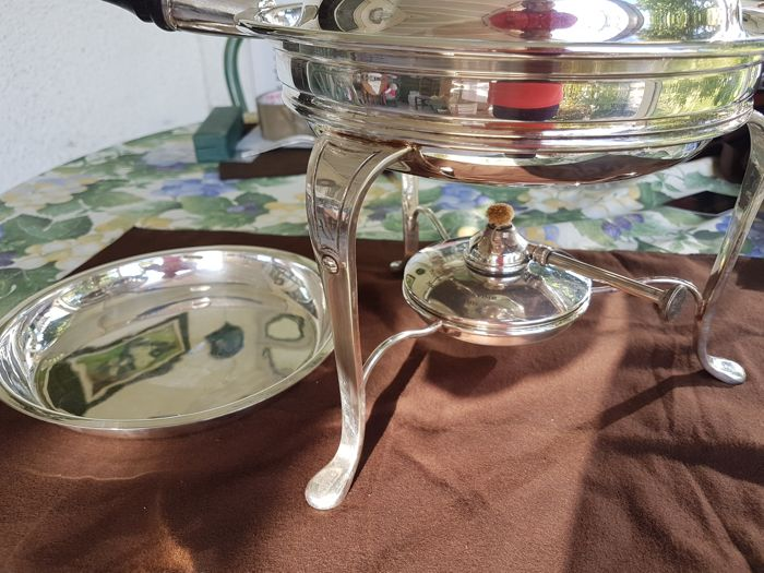 table-top skillet complete with burner - 1 - silver plated metal - France - 1900-1949
