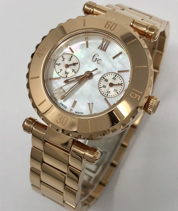 """Guess - GC Diver Chic Rose Gold Day&Date MOP Dial """"NO RESERVE PRICE"""" - X35011L1S - Mujer - NEW"""